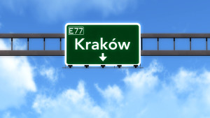 38242387 - krakow poland highway road sign